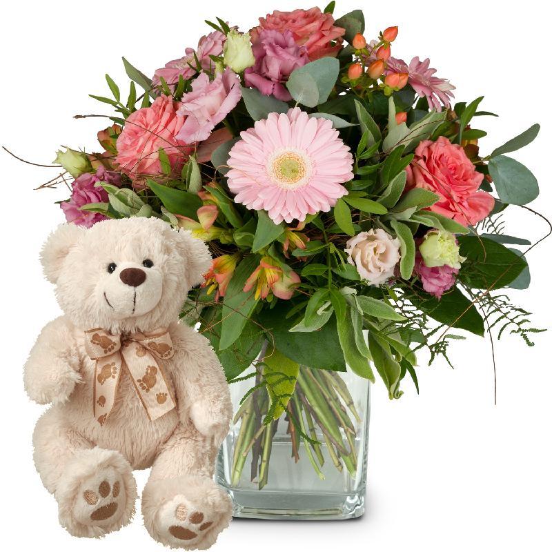 Bouquet de fleurs Sweet Romance with teddy bear (white)