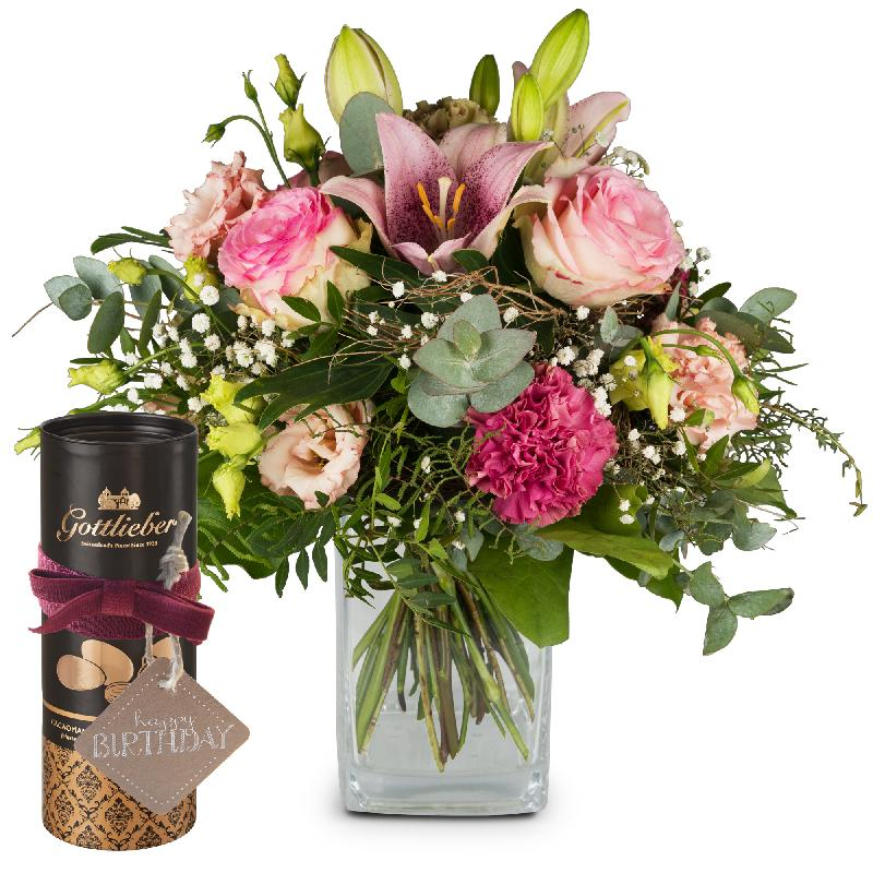 Bouquet de fleurs Lily Magic with Gottlieber cocoa almonds and hanging gift ta