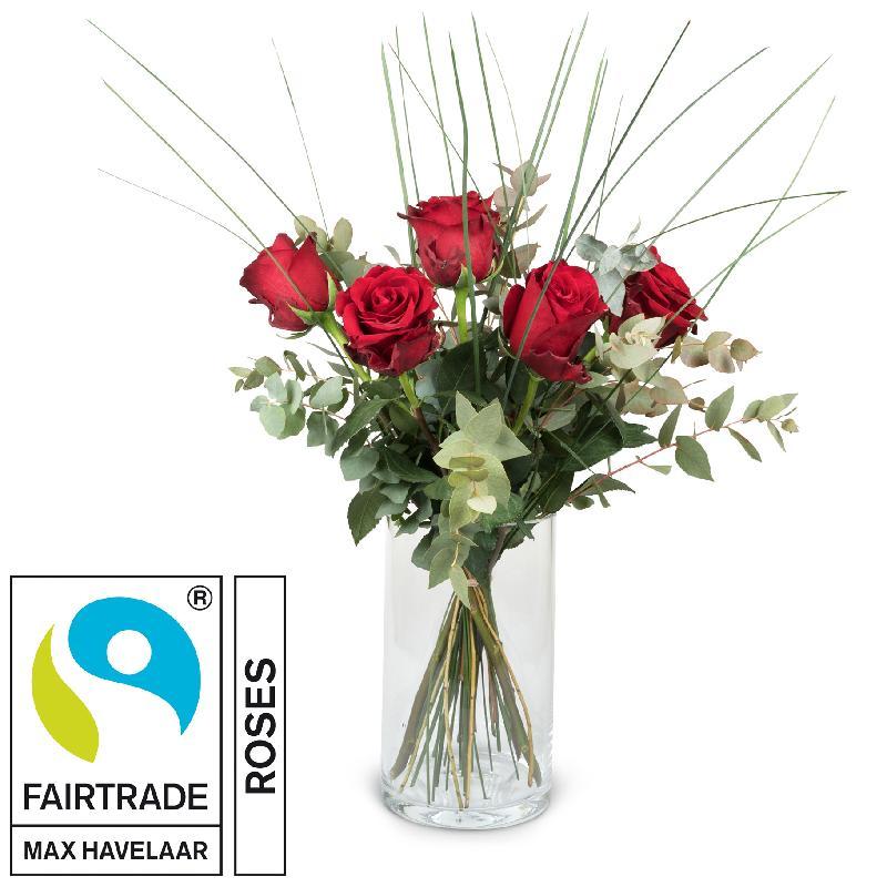 Bouquet de fleurs 5 Red Fairtrade Max Havelaar-Roses with greenery