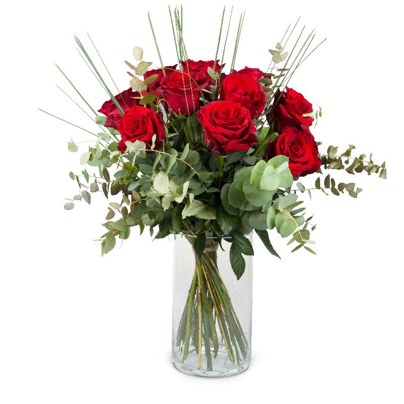Bouquet de fleurs 12 Red Roses with greenery