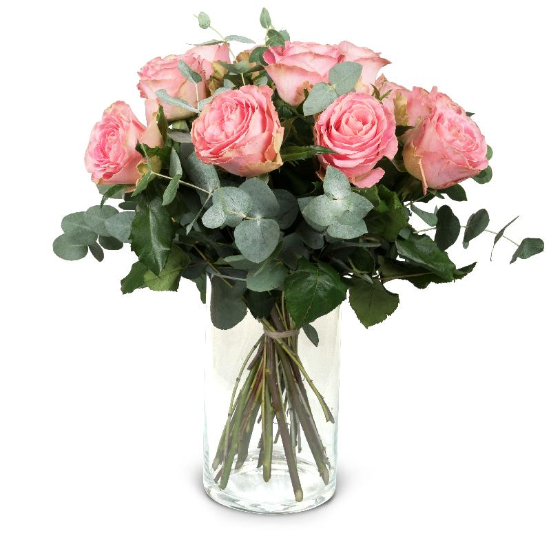 Bouquet de fleurs 12 Pink Roses with greenery