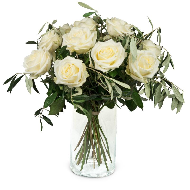 Bouquet de fleurs 12 White Roses with greenery