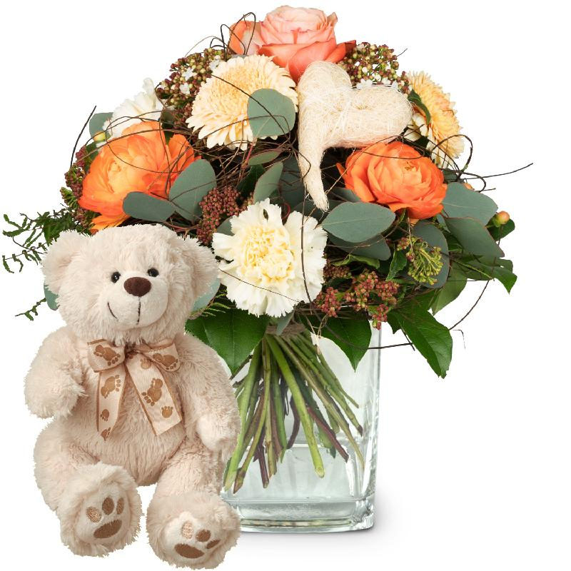 Bouquet de fleurs In my heart with teddy bear (white)