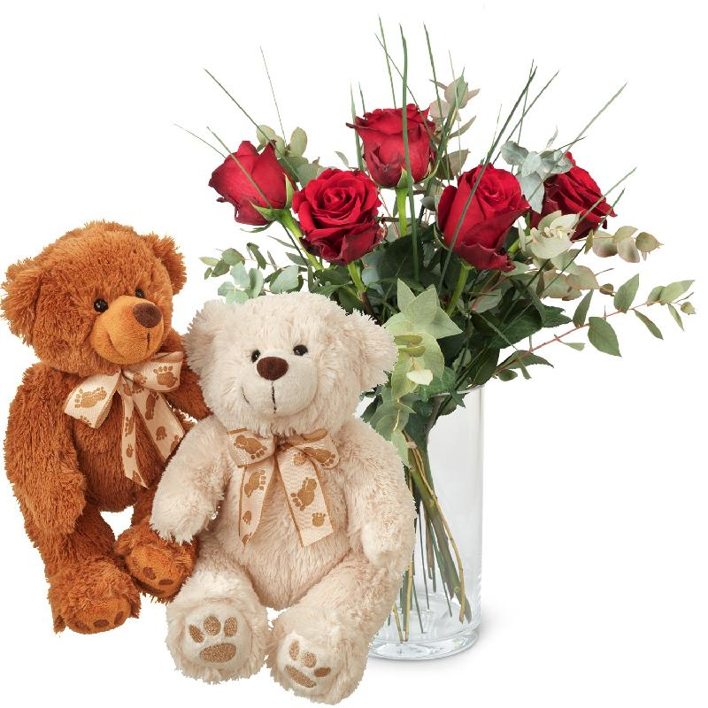 Bouquet de fleurs 5 Red Roses with greenery and two teddy bears (white & brown