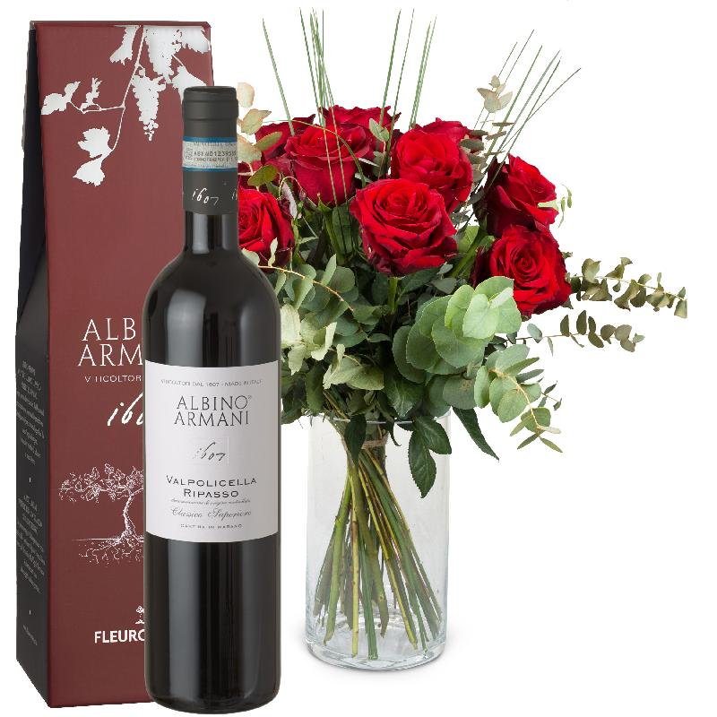Bouquet de fleurs 12 Red Roses with greenery and Ripasso Albino Armani DOC (75