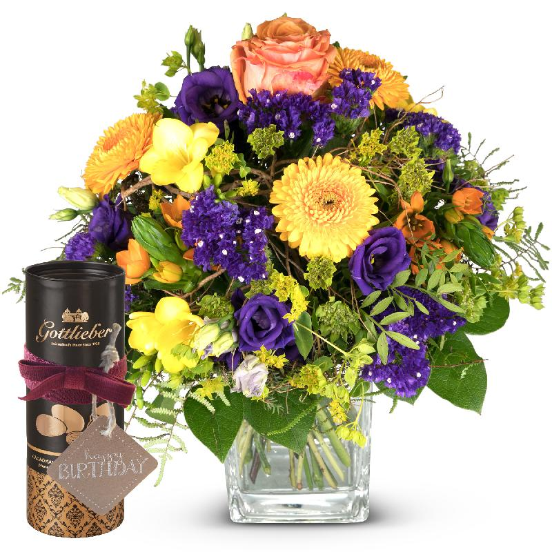 Bouquet de fleurs Magic of Spring with Gottlieber cocoa almonds and hanging gi