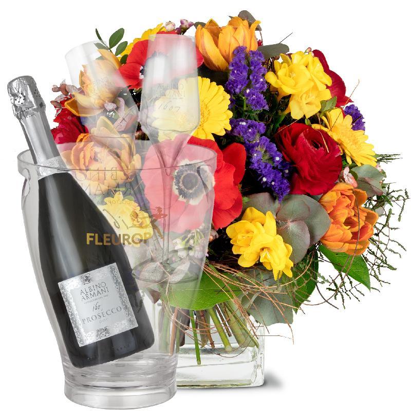 Bouquet de fleurs Happy with Prosecco Albino Armani DOC (75 cl), incl. ice buc