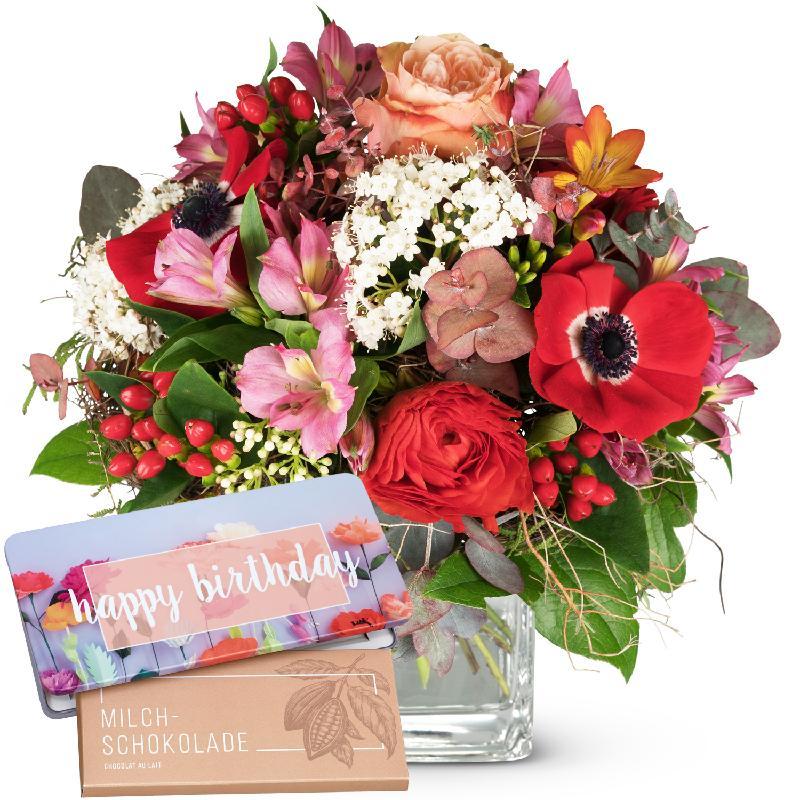 Bouquet de fleurs Spring Feelings with bar of chocolate «Happy Birthday»