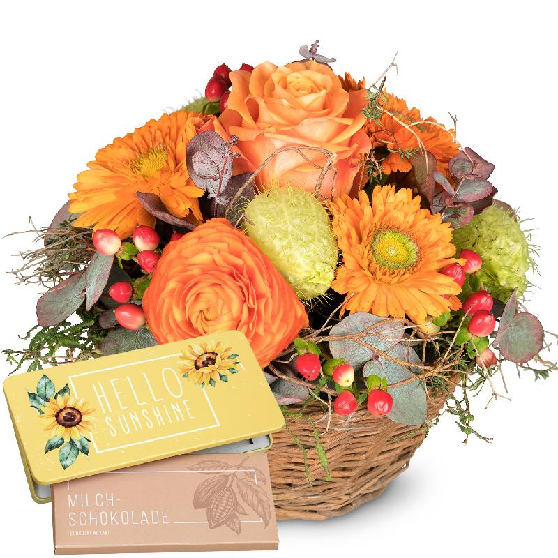 Bouquet de fleurs Pure Spring with bar of chocolate «Hello Sunshine»