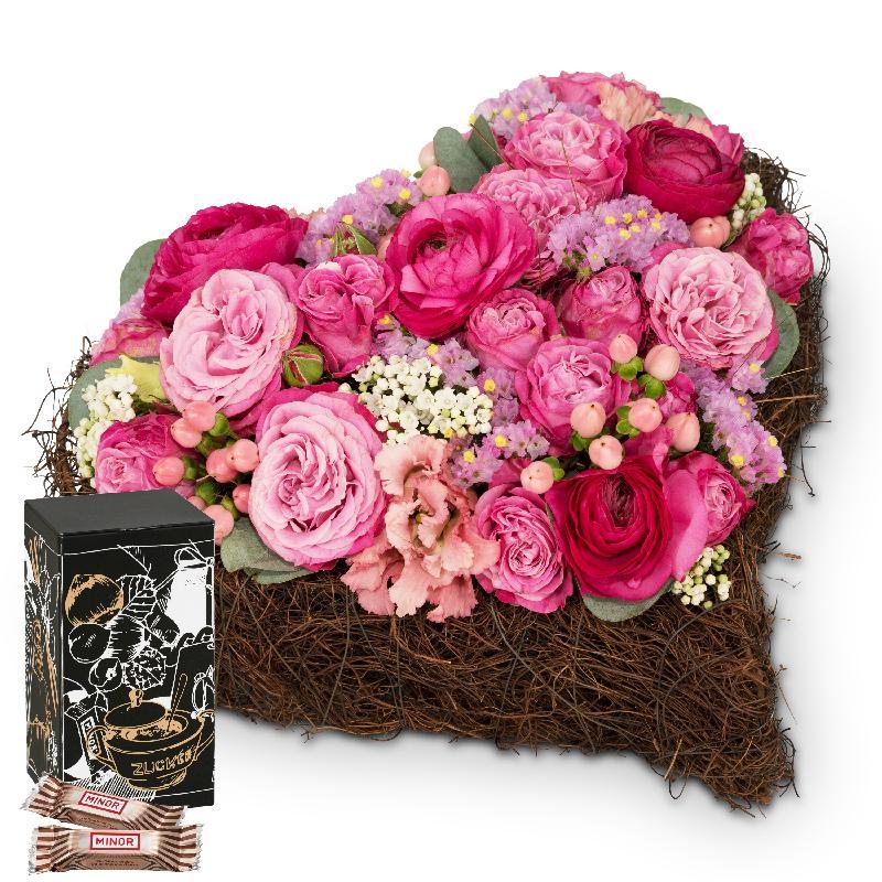 Bouquet de fleurs Dearest Heart with Minor Split in trendy gift tin