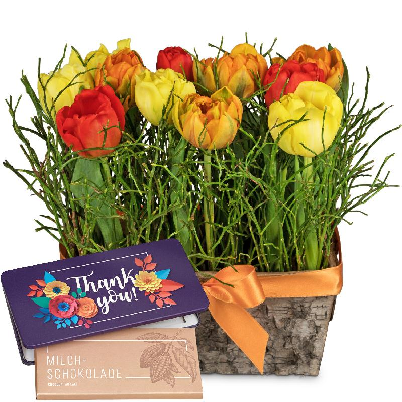 Bouquet de fleurs Happy tulip meadow with bar of chocolate «Thank you»