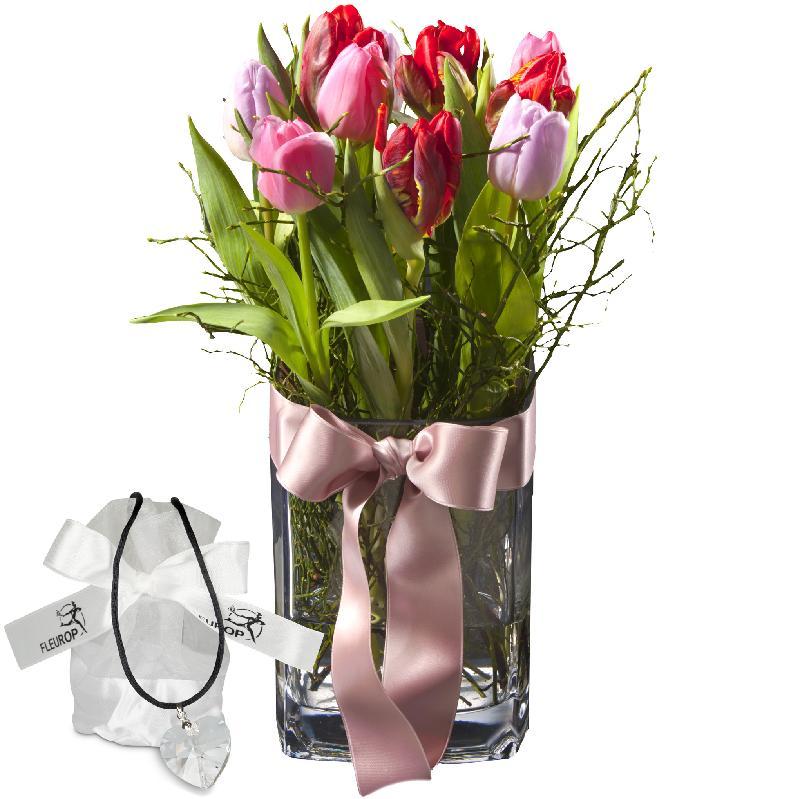 Bouquet de fleurs Tulip Princess (incl. vase), with Swarovski® crystal heart