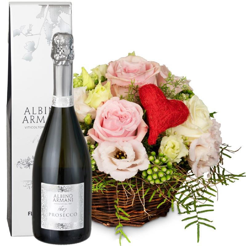 Bouquet de fleurs A Basket Filled with Love with Prosecco Albino Armani DOC (7