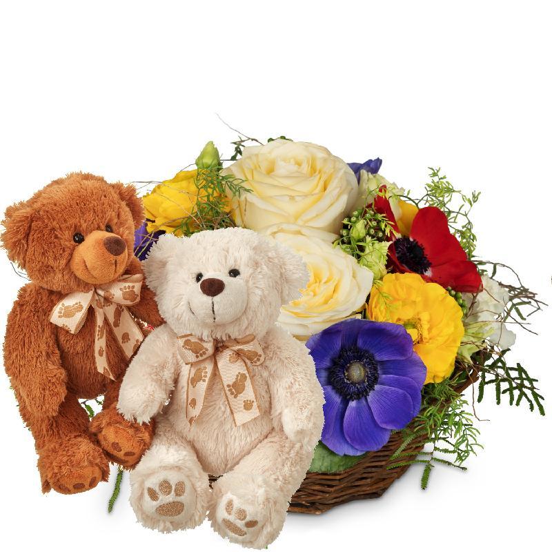 Bouquet de fleurs Colorful Surprise with two teddy bears (white & brown)