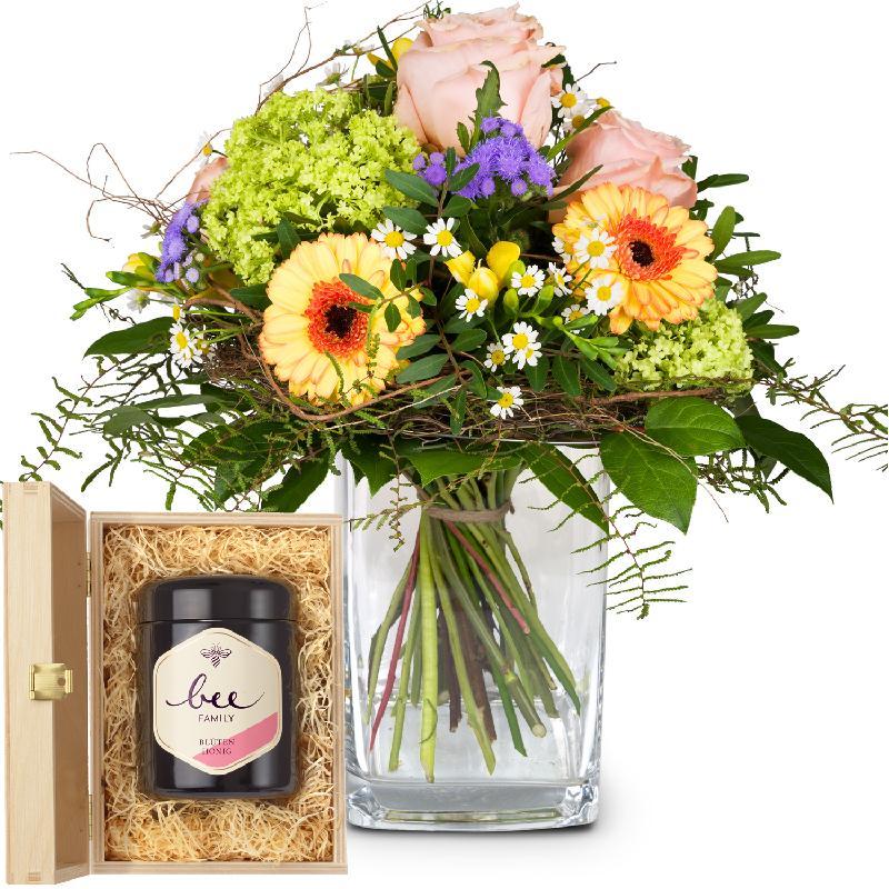 Bouquet de fleurs Happy Moments with Swiss blossom honey