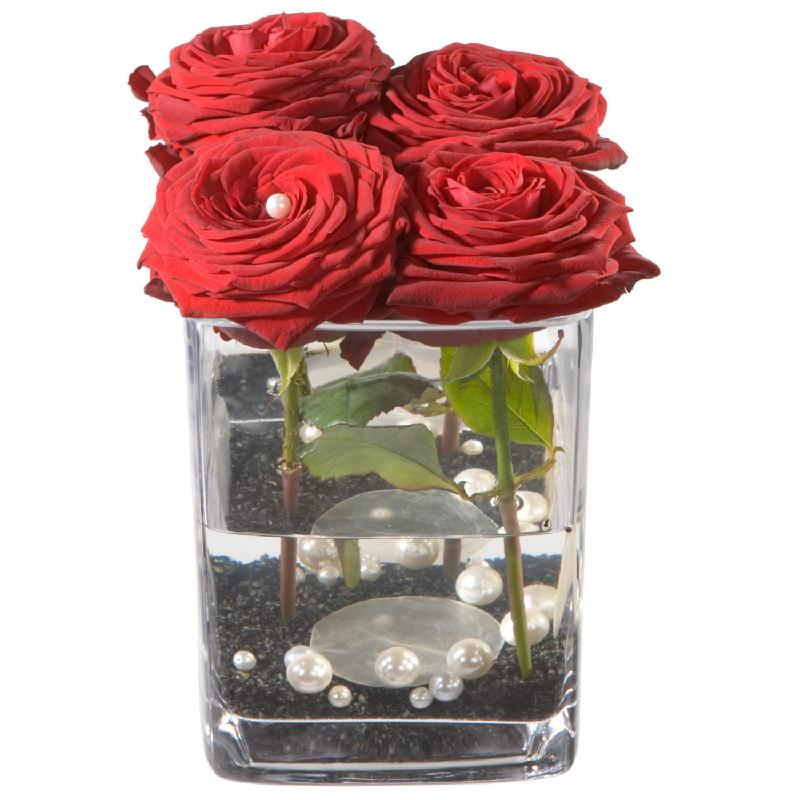 Bouquet de fleurs Roses 4 YOU (including vase)