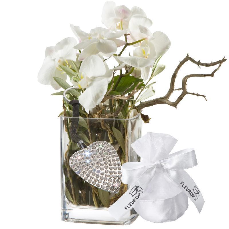 Bouquet de fleurs Orchid Design, incl. key ring with 112 Swarovski® crystals