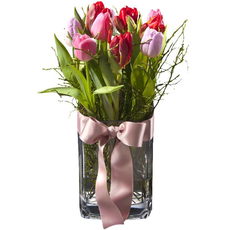 Bouquet de fleurs Tulip Princess (incl. vase)