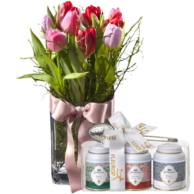 Bouquet de fleurs Tulip Princess (incl. vase) with Gottlieber tea gift set
