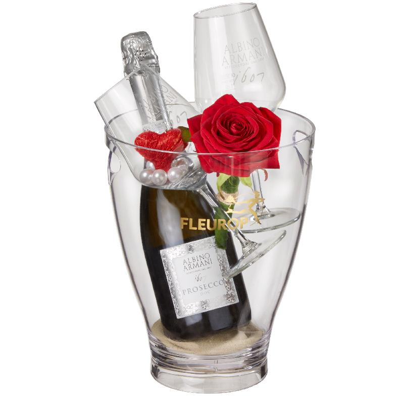 Bouquet de fleurs I Love You: Prosecco Albino Armani DOC (75 cl) incl. ice buc