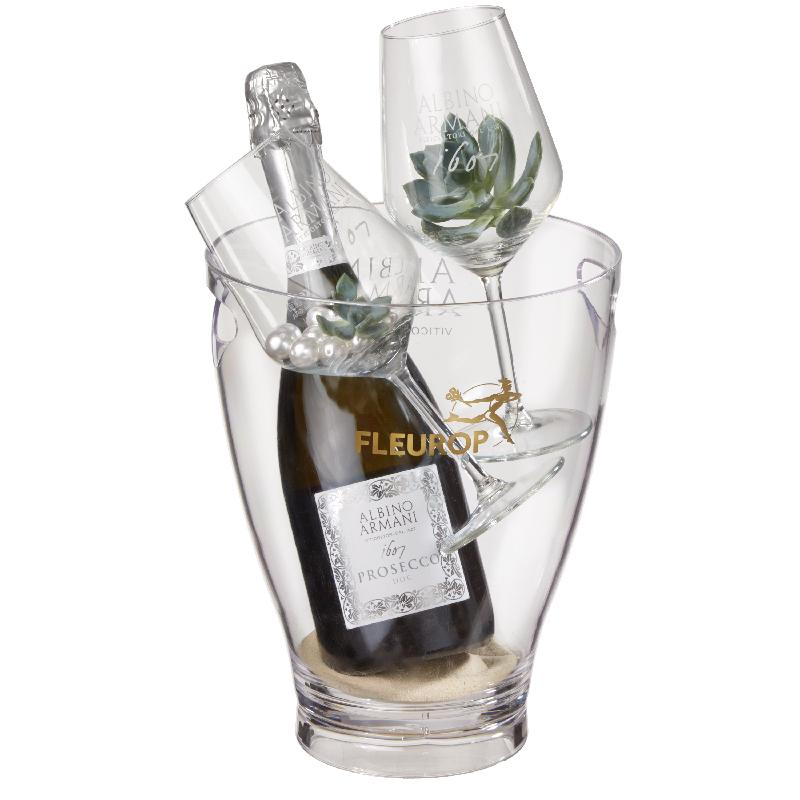 Bouquet de fleurs Stylish: Prosecco Albino Armani DOC (75 cl) incl. ice bucket
