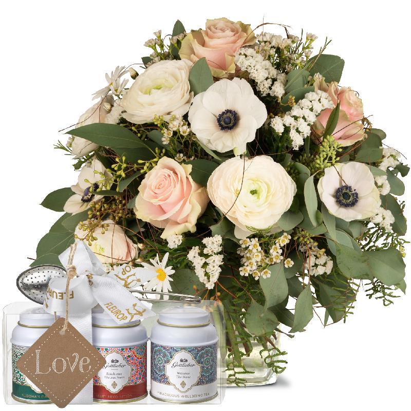Bouquet de fleurs Because you exist with Gottlieber tea gift set and hanging g