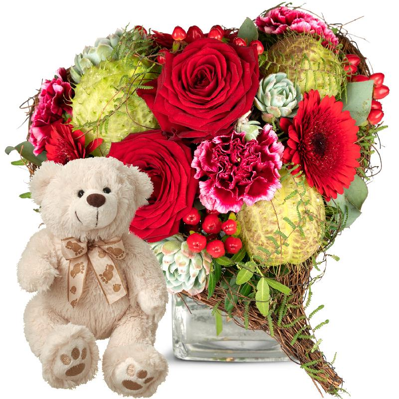 Bouquet de fleurs Only for You, with teddy bear (white)