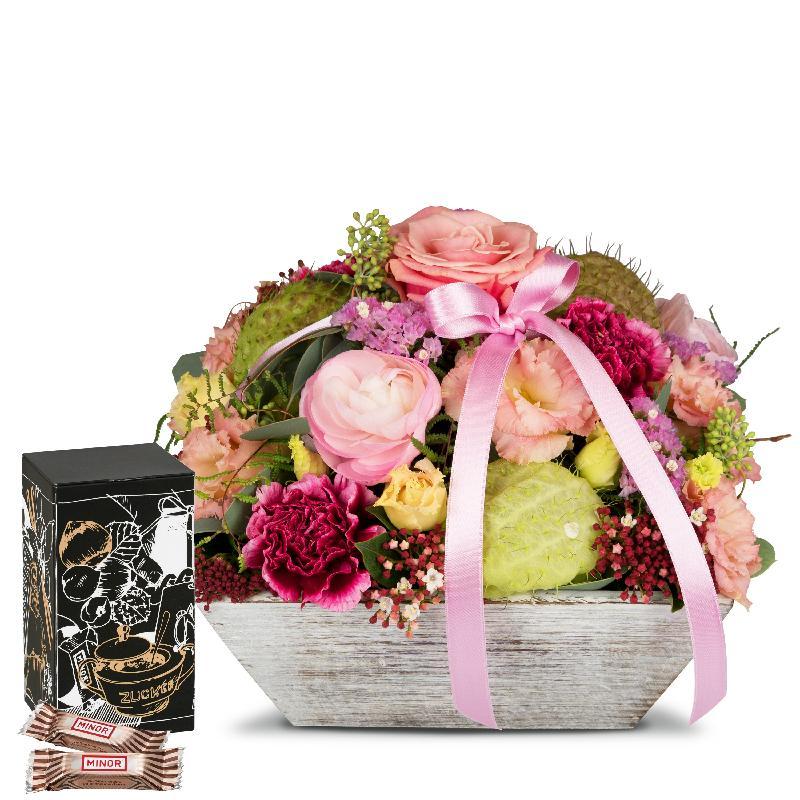 Bouquet de fleurs Loving Present with Minor Split in trendy gift tin