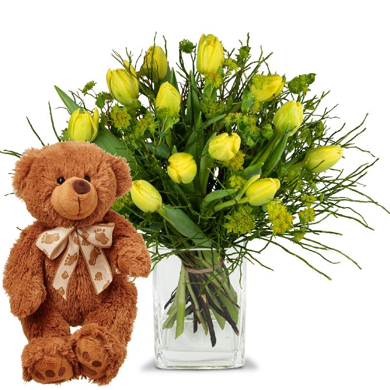 Bouquet de fleurs Sunny spring composition with teddy bear (brown)
