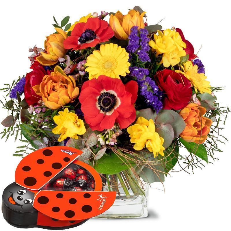 Bouquet de fleurs Happy with chocolate ladybird