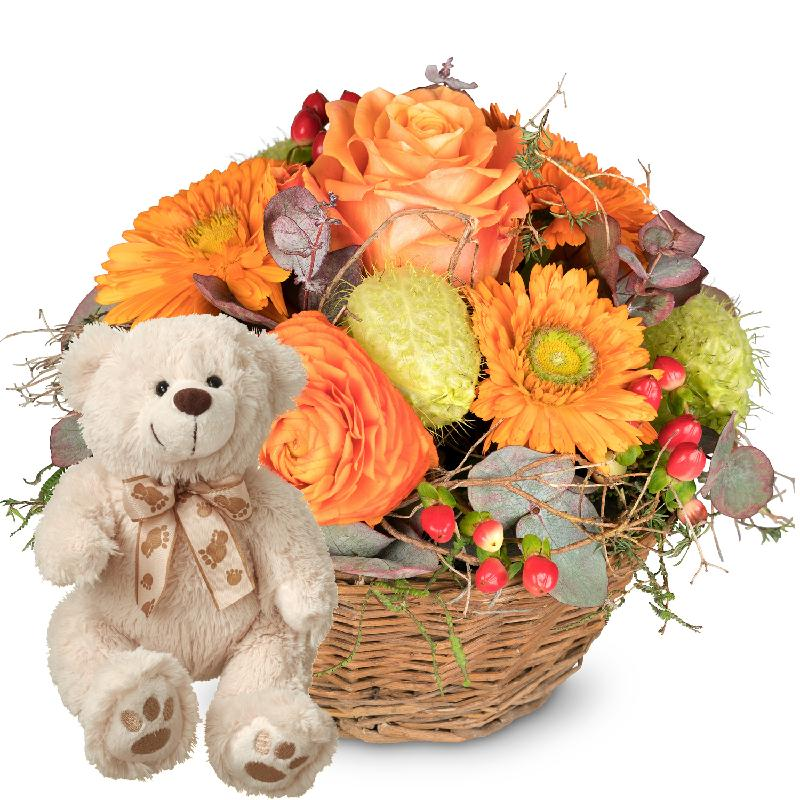Bouquet de fleurs Pure Spring, with teddy bear (white)