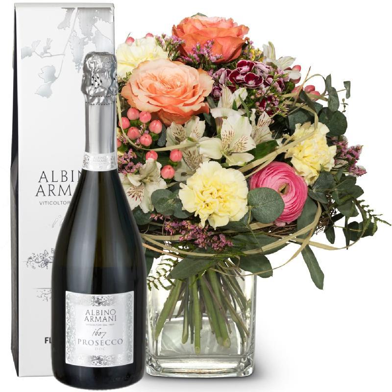 Bouquet de fleurs For the favorite person with Prosecco Albino Armani DOC (75c