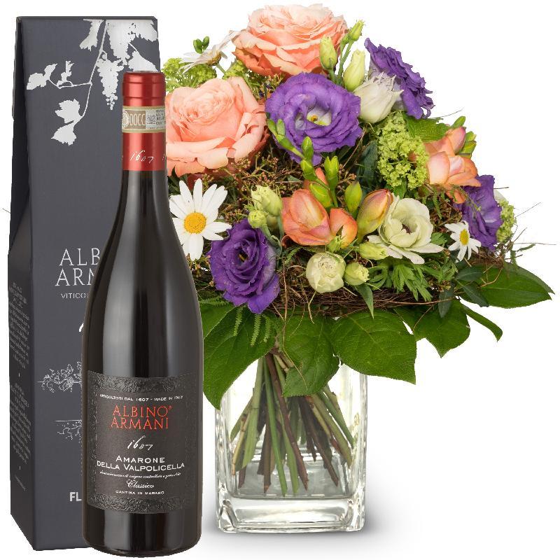 Bouquet de fleurs Cheerful Spring Bouquet with Amarone Albino Armani  DOCG (75