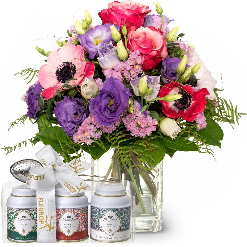 Bouquet de fleurs Spring Princess with Gottlieber tea gift set
