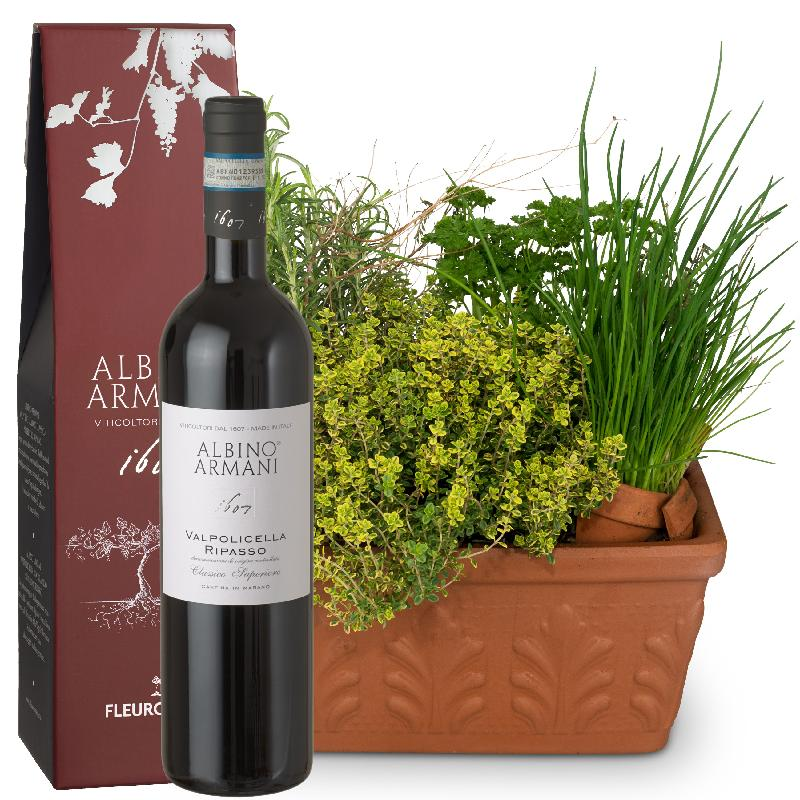 Bouquet de fleurs Herb Box with Ripasso Albino Armani DOC (75cl)