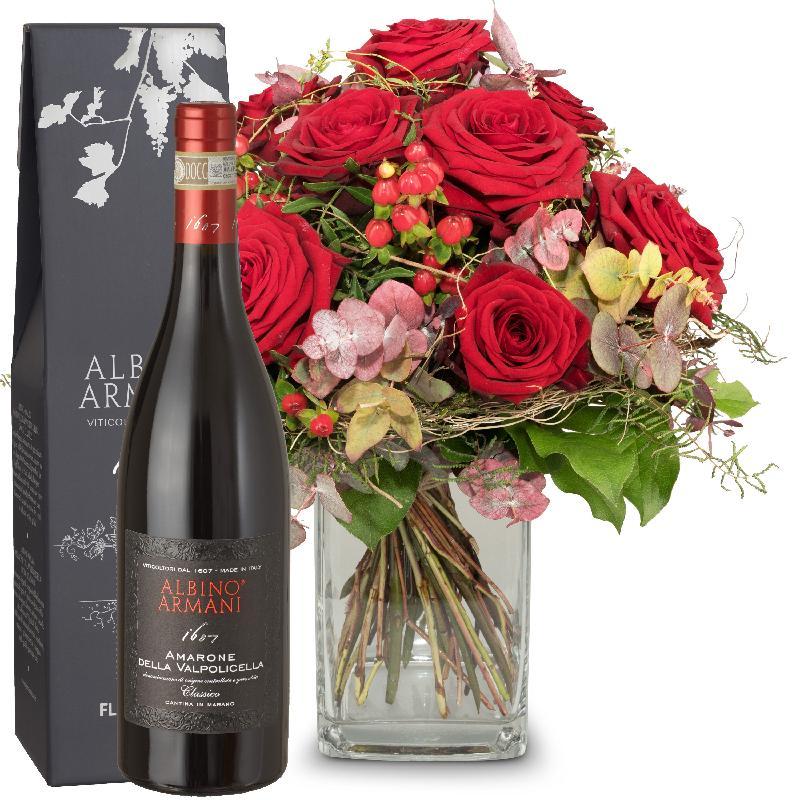 Bouquet de fleurs I Love You with  Amarone Albino Armani  DOCG (75cl)