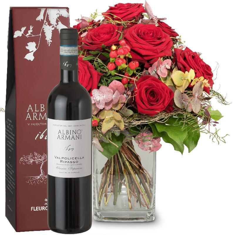Bouquet de fleurs I Love You with Ripasso Albino Armani DOC (75cl)