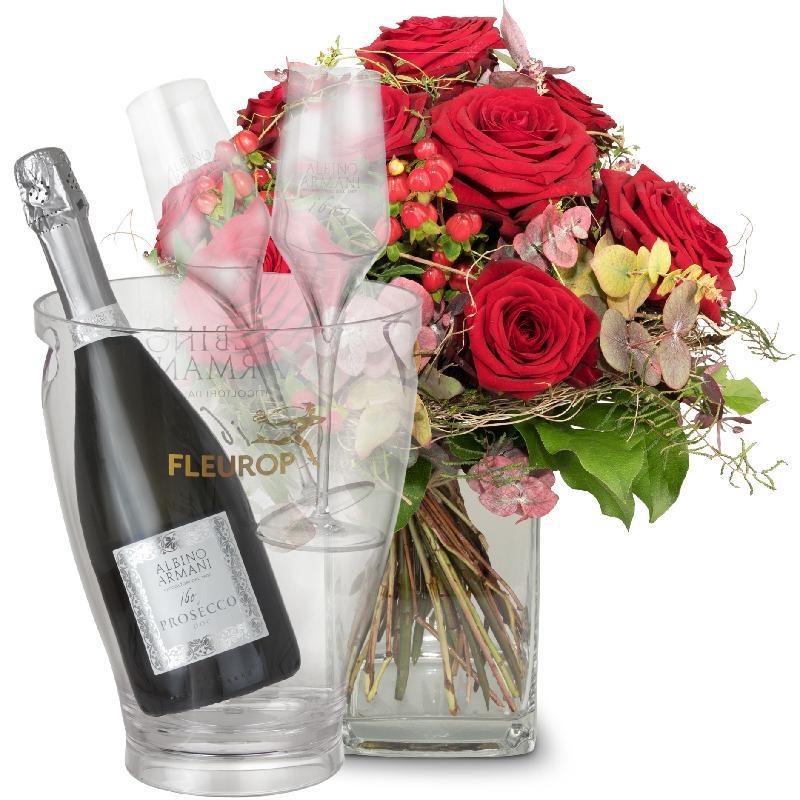 Bouquet de fleurs I Love You with Prosecco Albino Armani DOC (75 cl), incl. ic