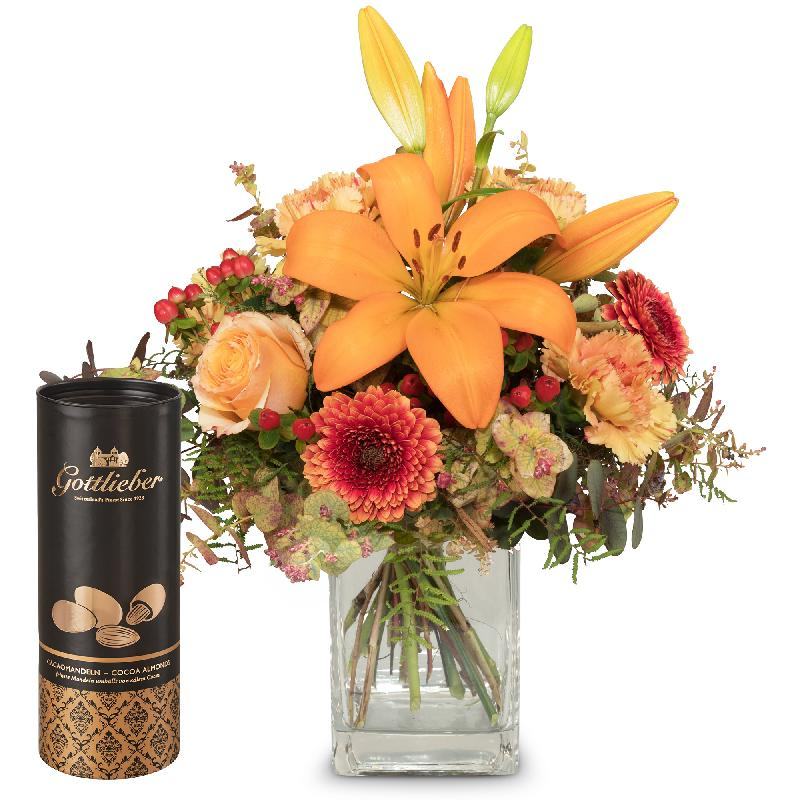 Bouquet de fleurs Harmony of Lilies with Gottlieber cocoa almonds