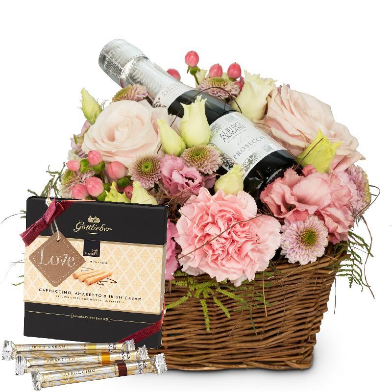 Bouquet de fleurs Flower Fairy with Prosecco Albino Armani DOC (20cl), Gottlie
