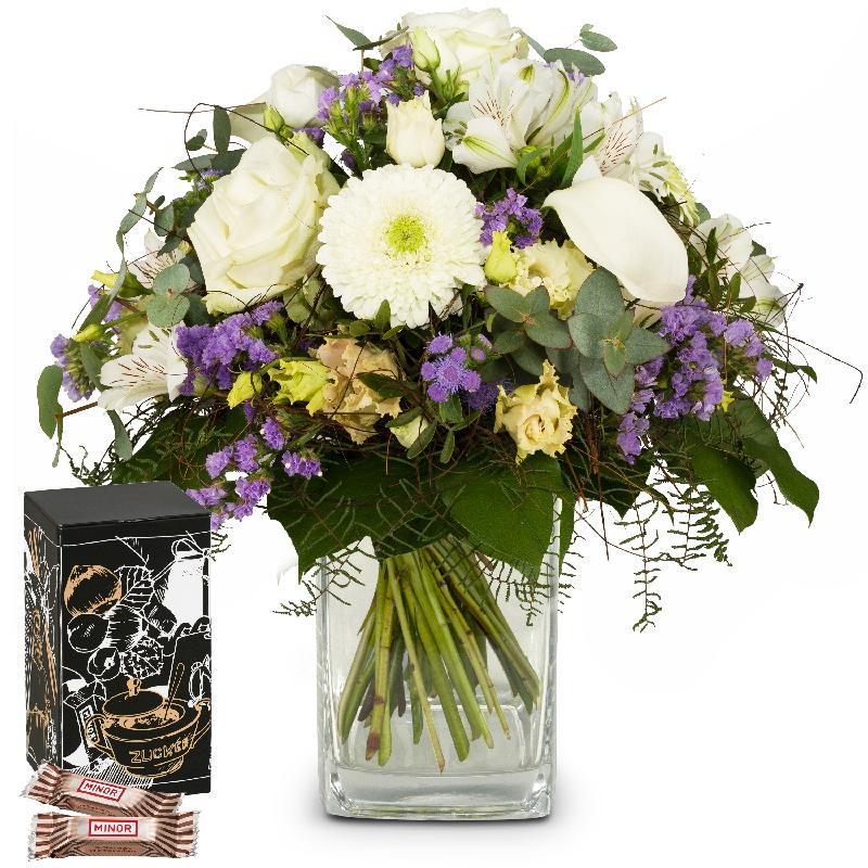 Bouquet de fleurs Simply Heavenly ... with Minor Split in trendy gift tin