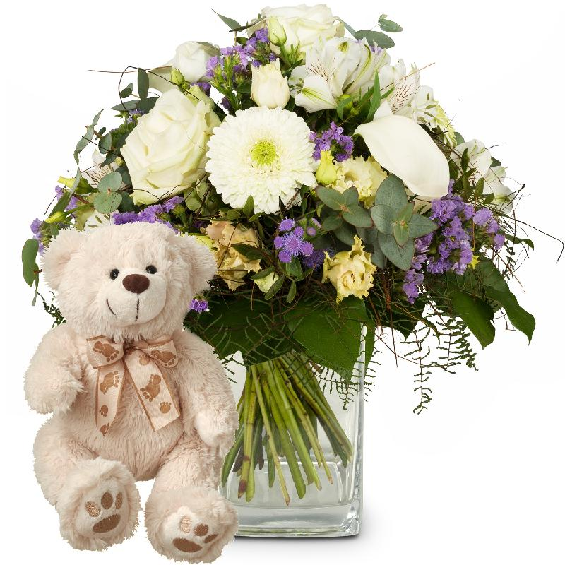 Bouquet de fleurs Simply Heavenly ... with teddy bear (white)
