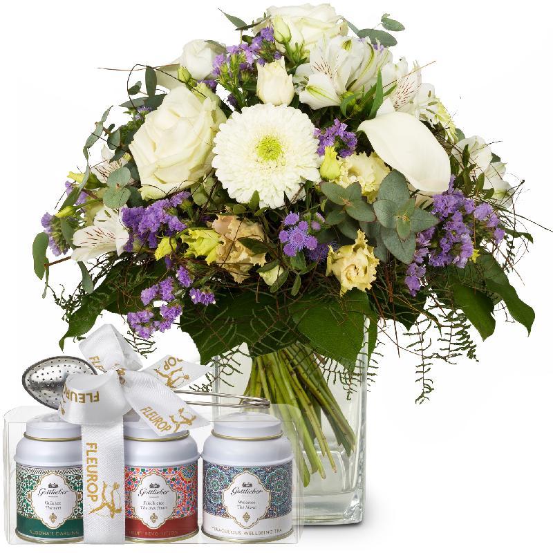 Bouquet de fleurs Simply Heavenly ... with Gottlieber tea gift set