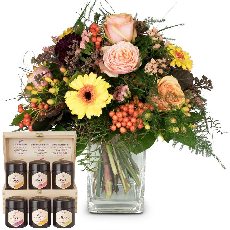 Bouquet de fleurs Indian Summer with honey gift set