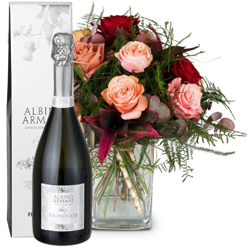 Bouquet de fleurs Romantic Roses with Prosecco Albino Armani DOC (75cl)