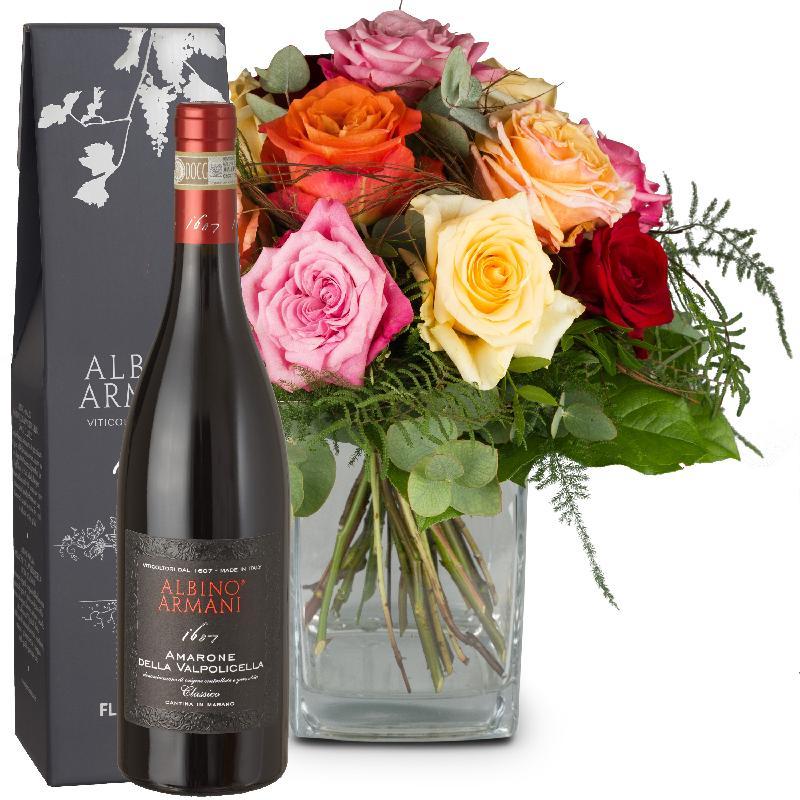 Bouquet de fleurs Rose Dream with Amarone Albino Armani  DOCG (75cl)