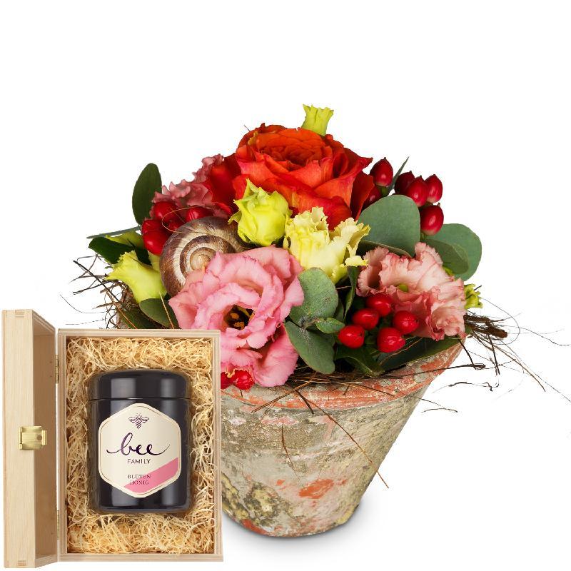 Bouquet de fleurs Flower Kiss with Swiss blossom honey
