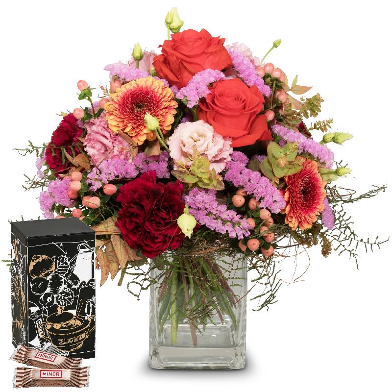 Bouquet de fleurs Colorful Wishes with Minor Split in trendy gift tin