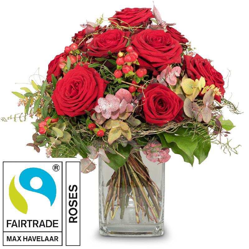 Bouquet de fleurs I Love You with Fairtrade Max Havelaar-Roses