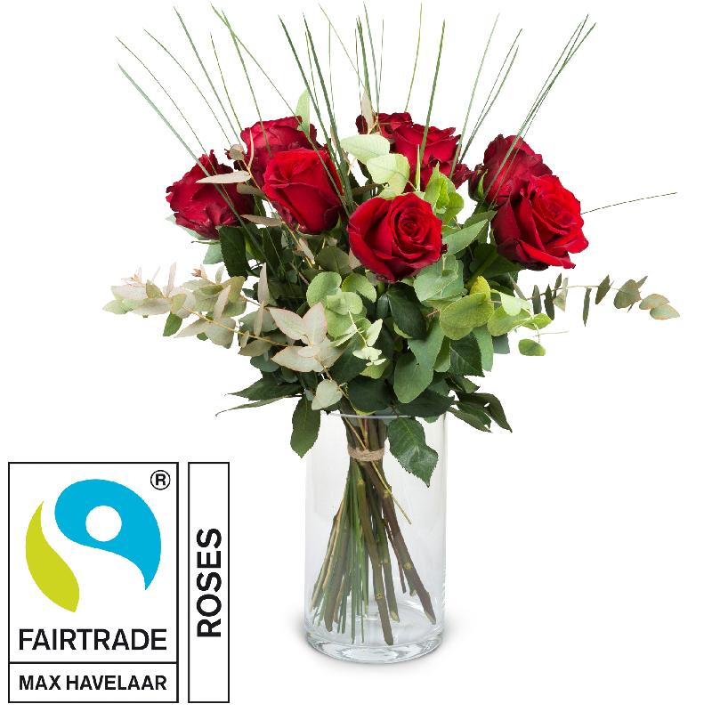 Bouquet de fleurs 9 Red Fairtrade Max Havelaar-Roses with greenery
